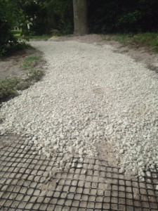 Installing geogrid mat over roots and then clean gravel provides a strong buffer against the lifting force of roots