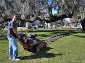 Dan LeBlanc of Taylor Tree Services operates the trencher to rejuvenate the Maltby Oak root system. The technique is called radial trenching. This technique using a trencher is not commonly used because the site must be clear of underground utilities that could be damaged by the trencher.